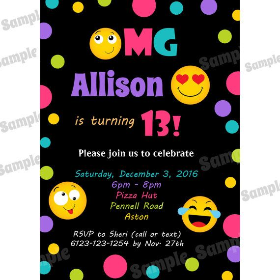20 Personalized PRINTED Birthday Invitations
