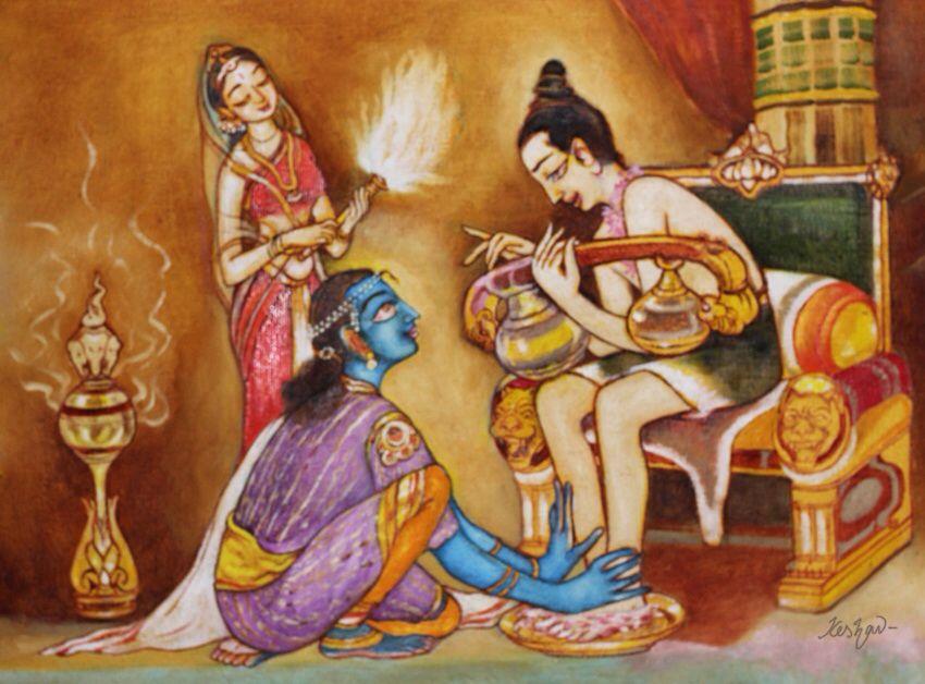 Narada visits Krishna in Dwaraka. Detail from a bigger work on Srimadbhagavatham.