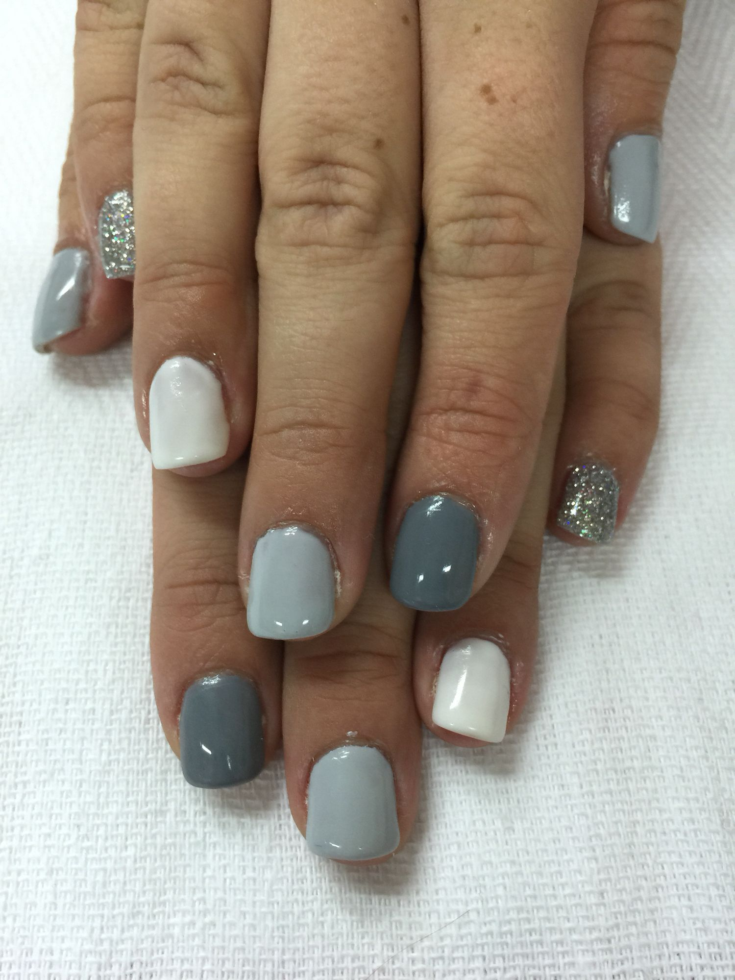 Shades of grey gel nails. Two greys, white and silver glitter gel ...