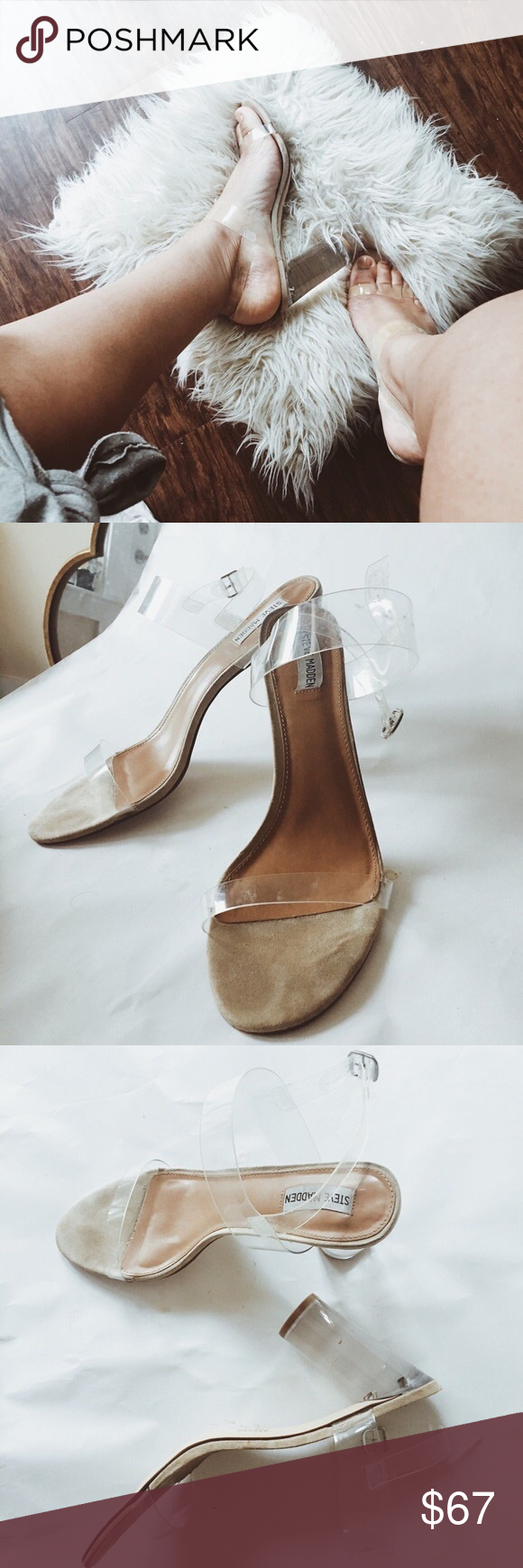 e353aeea785d Perspex Clear   Nude Heels Worn beautiful gems! Camille Lucite Clear Block  Heel Dress Sandra still being sold at  99.99 at Dillard s.