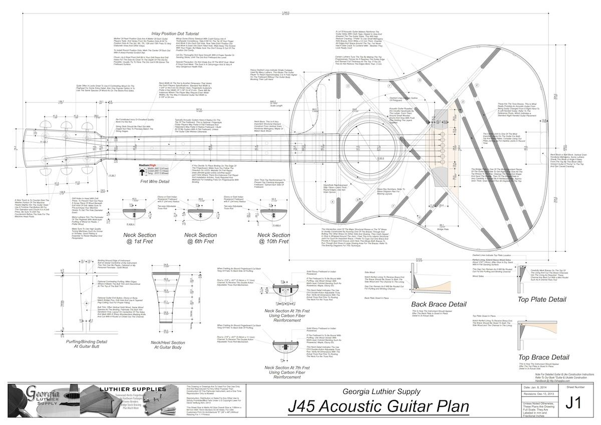 J45 Guitar Plans Electronic Version Gitar Listrik Gitar Taylor Gitar