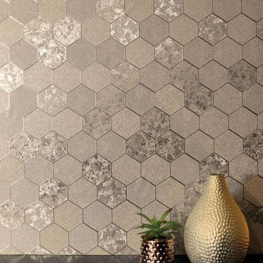 Best Foil Honeycomb Wallpaper Champagne Arthouse 294701 In 2020 400 x 300