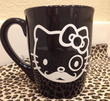 Black white hello kitty hipster mustache bow coffee mug cup home decor storage vinyl decal sticker