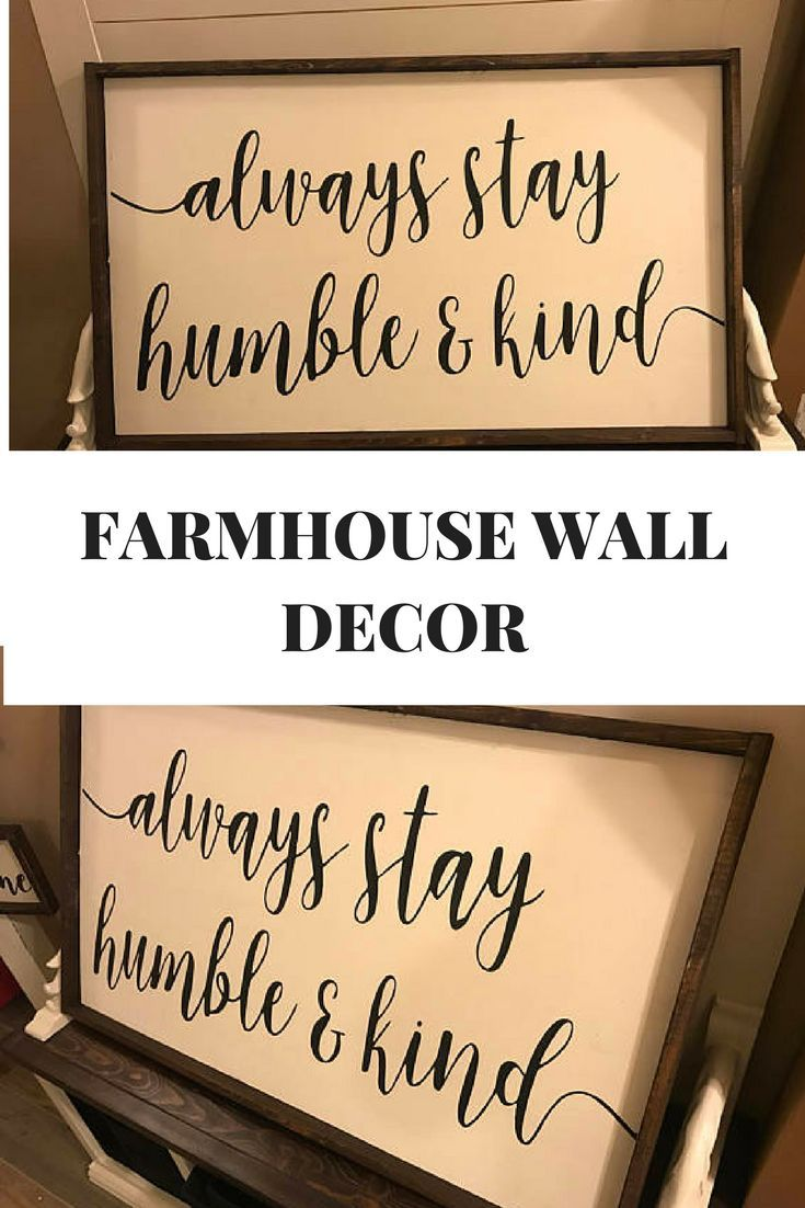 Rustic home decor large framed wood sign always stay humble and kind ...