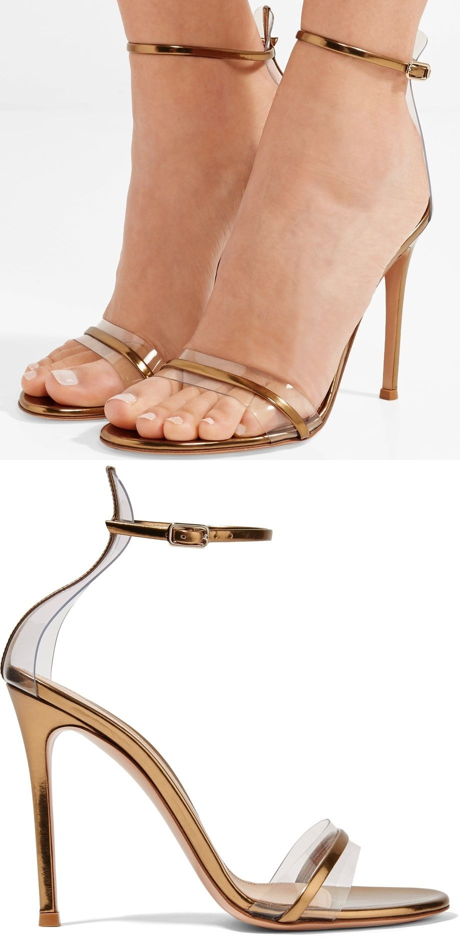 Gianvito Rossi Updates His Signature Portofino Sandals With Clear Pvc Trims Made From Gold Leather This Pair Has Two Ankle Strap Heels Stiletto Heels Heels