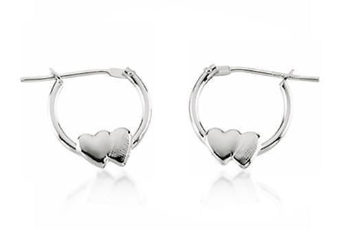 Adorable 14K White Gold Round Hoop Earrings with Heart Accents 11.25 x 1.25mm #Hoop