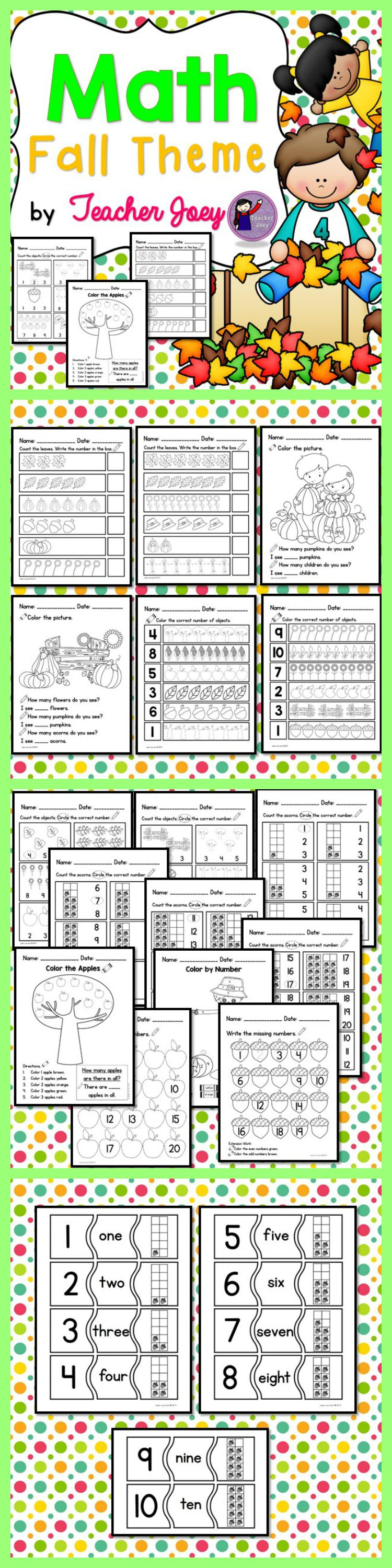Fall Counting Worksheets | My TPT Products - Teacher Joey | Pinterest