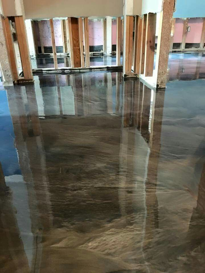 Pin By Brooke Kanipe On Ideas For My Home Metallic Epoxy Floor Epoxy Floor Concrete Stained Floors