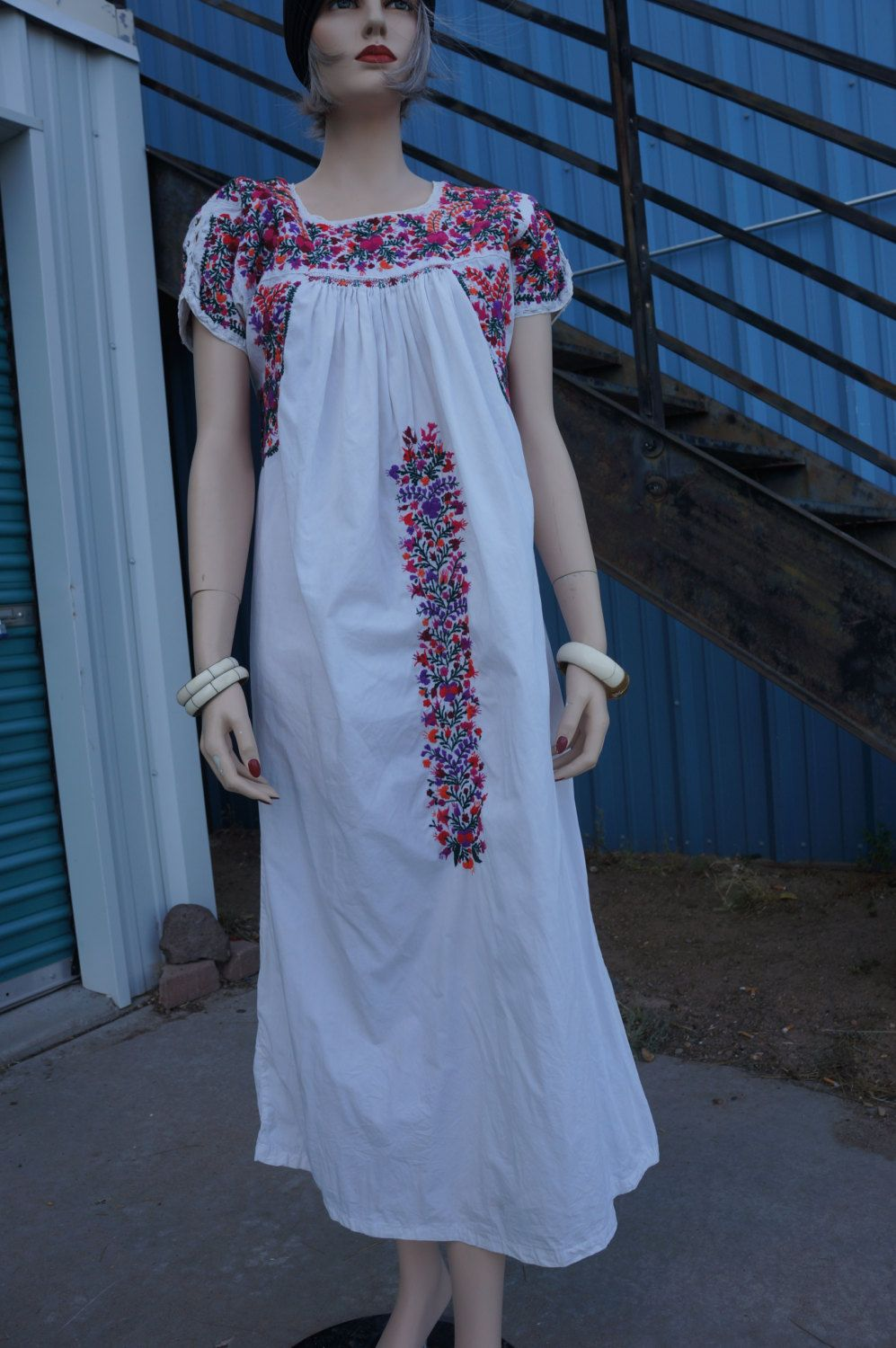 Vintage Oaxacan Wedding Dress, 60\'s Mexican Embroidered Dress ...