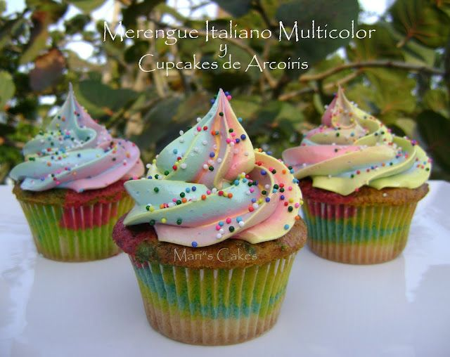 Multi color Meringue Swirl / SUSPIRO MULTICOLOR y Cupcakes de ARCO IRIS