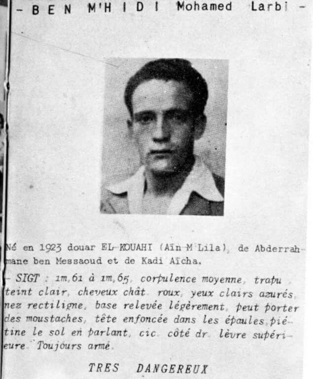 Larbi Ben M'hidi. Algerian Hero of the Resistance.   Alger, History,  Algerian