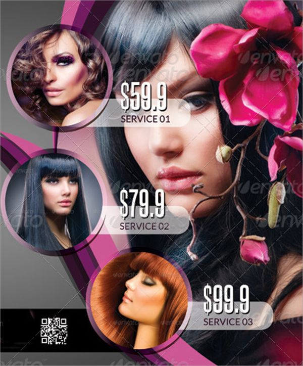Lovely Modern Beauty Salon Flyer Template (600×724)