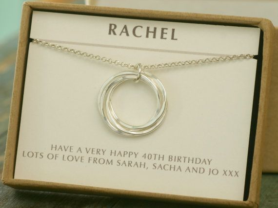 40th Birthday Gift 4 Best Friend Necklace Sister Jewelry Linked Rings Family Of