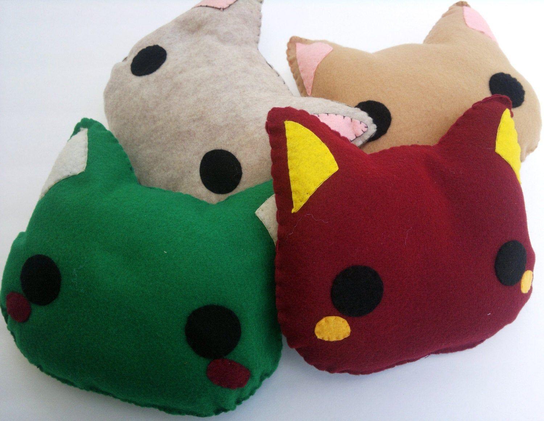 Cute Handsewn Fleece Kitty Cat, Kawaii Plush Stuffed