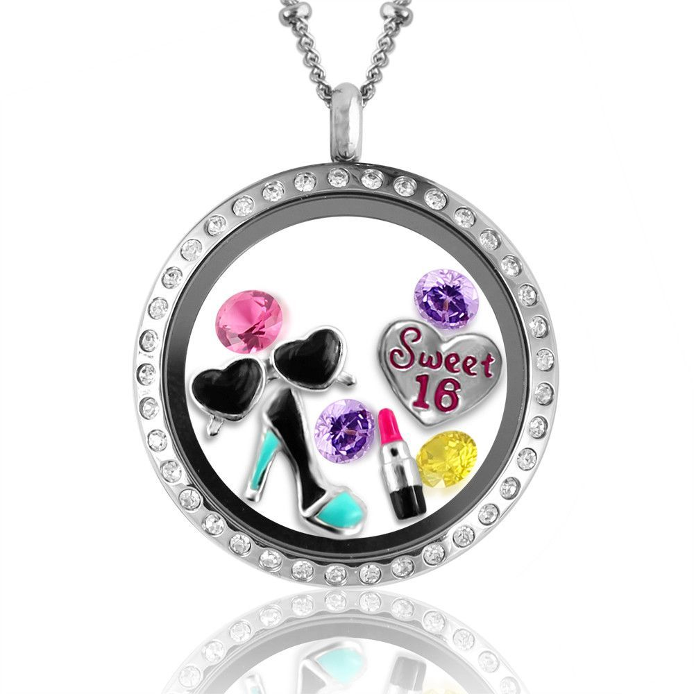 product of necklace charm floating shaped locket memory lockets love heart