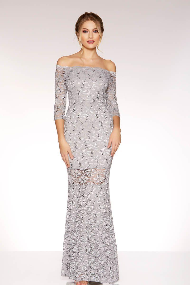 029d208ce02a Grey Lace And Sequin Bardot Maxi Dress - Quiz Clothing | Aoif ...