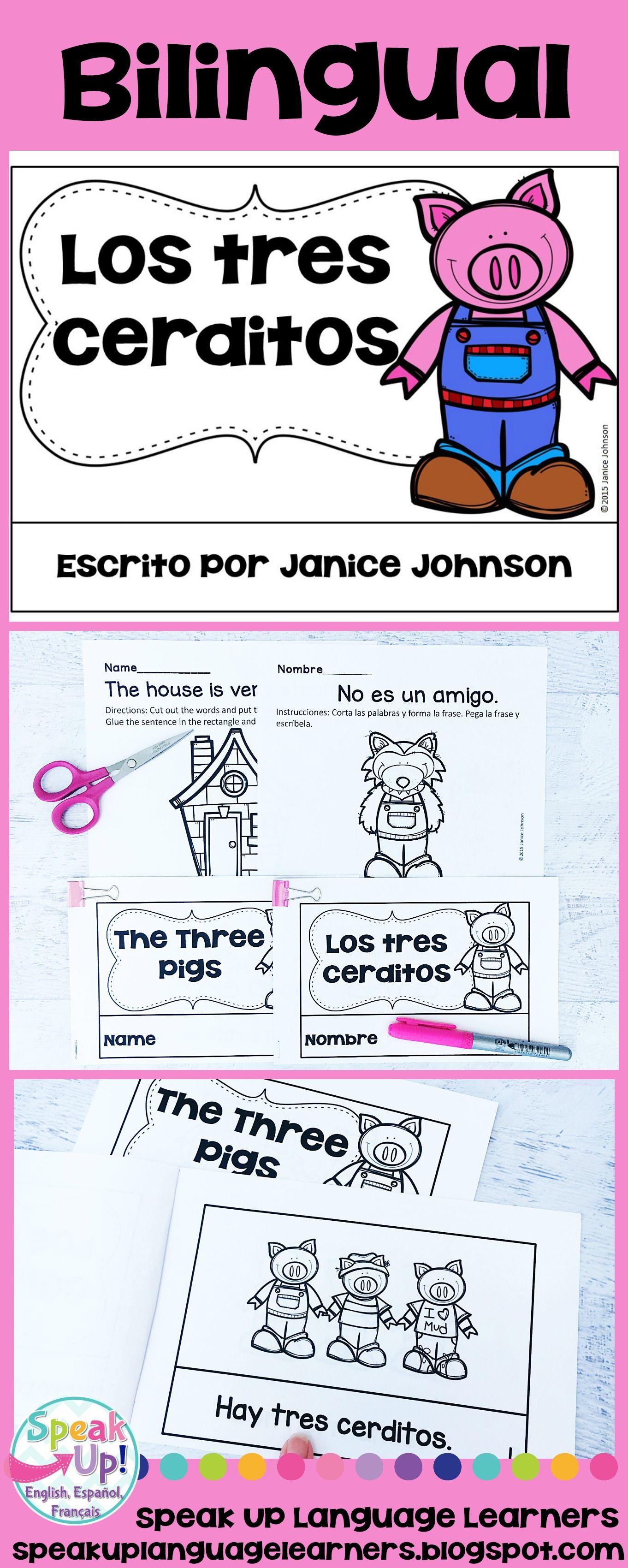 Los Tres Cerditos The Three Pigs Readers Printable Boom Cards Bilingual Bilingual Language Learners Language Teaching [ 3400 x 1362 Pixel ]