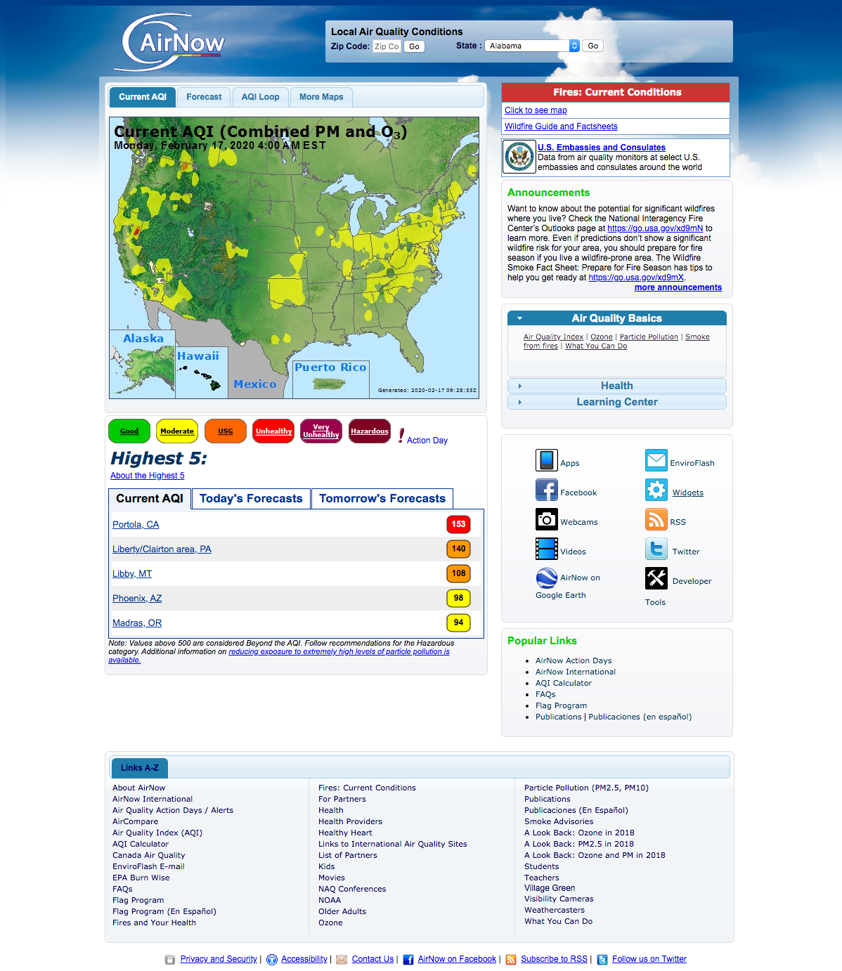 AirNow, every day the Air Quality Index (AQI) tells you
