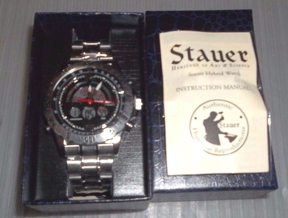 Stauer Compendium Hybrid Watch Stainless Steel Band Water Resistant New In Box