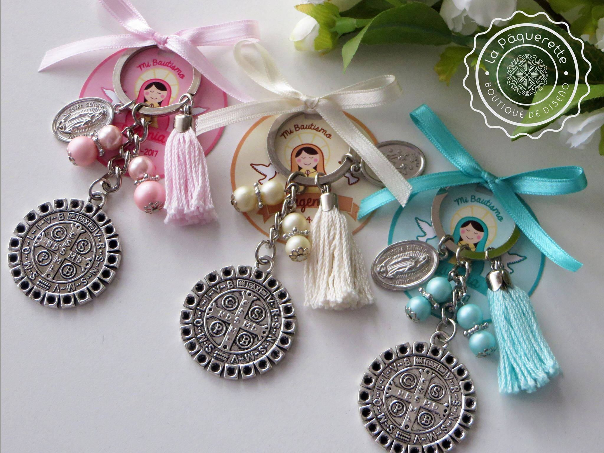 Baptism and First munion favors St Benedict s medal keychain w