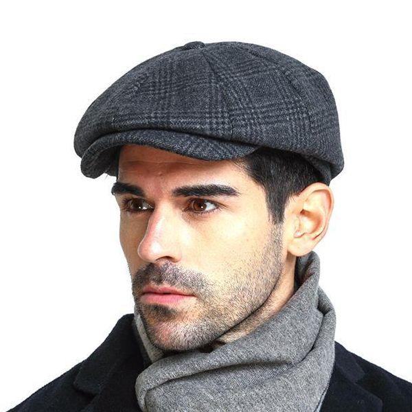 050de0594f7 Men Vintage Wool Gird Beret Hat Winter Warm Gentleman Octagonal Cap ...
