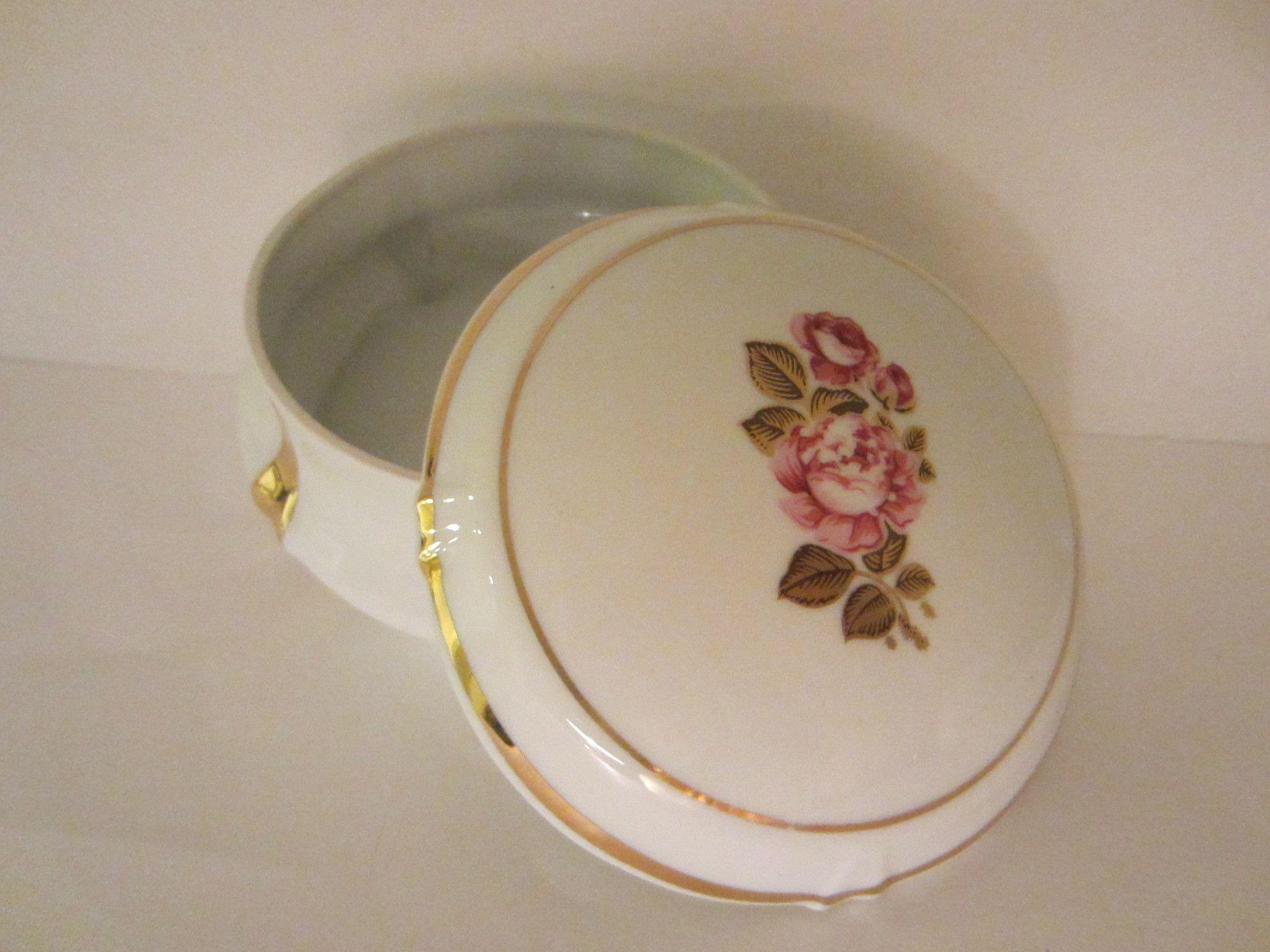 Limoges France Rose Medallion Porcelain Box With Stamp Mark Box Roses Limoges Gilt