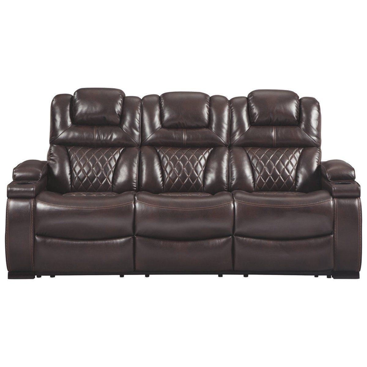 Leatherette Upholstered Metal Power Reclining Sofa With Adjustable