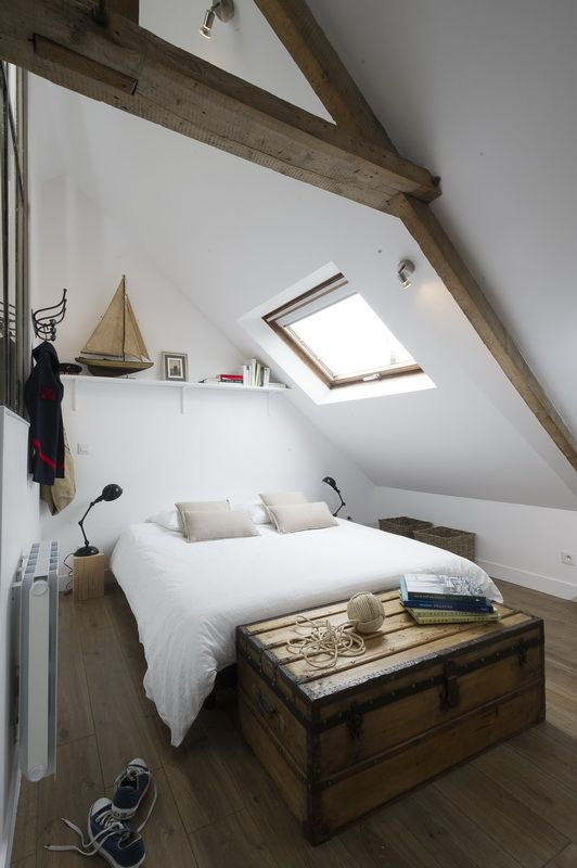 Un mini loft industriel sous les toits en Normandie deco