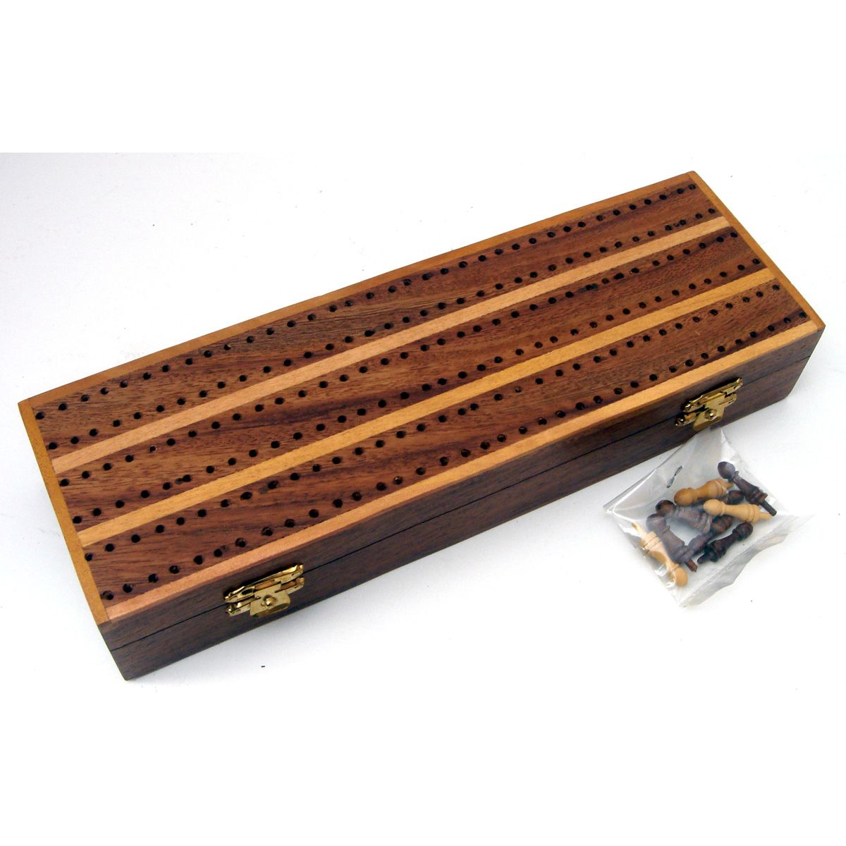 Antique Wood Cribbage Card Game Board