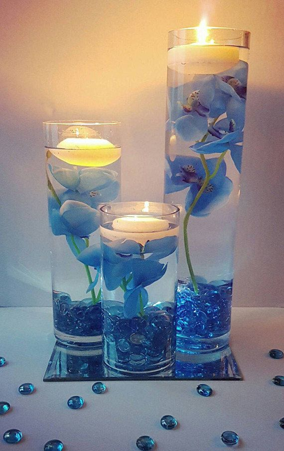Excellent Wedding Centerpiece Floating Candle Centerpiece With Blue Home Interior And Landscaping Fragforummapetitesourisinfo