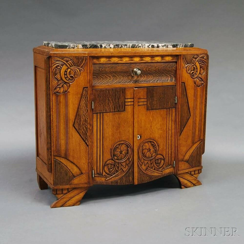 Antique Looking Furniture Cheap: Art Deco Carved And Inlaid Oak Marble-top Sideboard