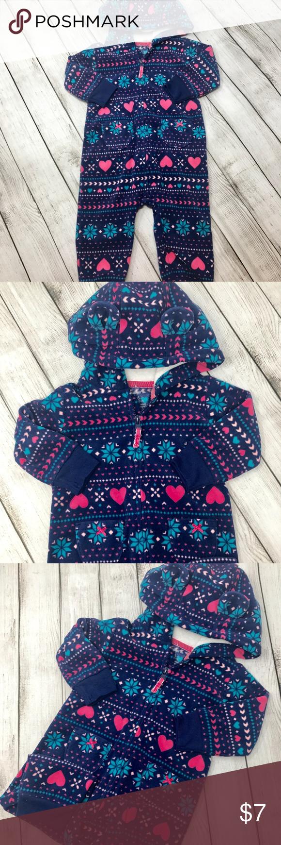 aa7dc2c030da Girls Carter footless fleece hooded zipper pajamas