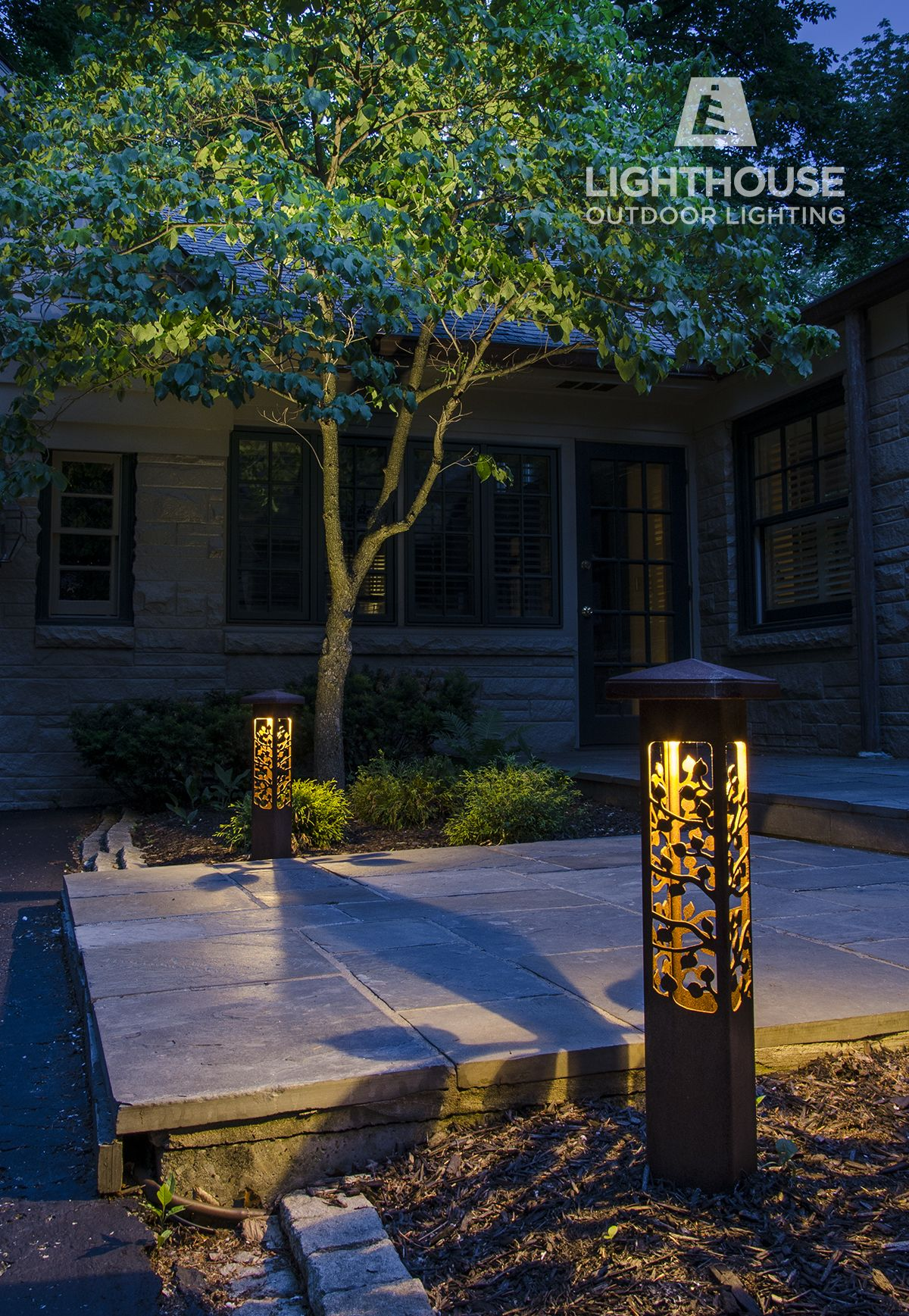 Nightscaping Grove Path Lights Decorate An Entryway To A