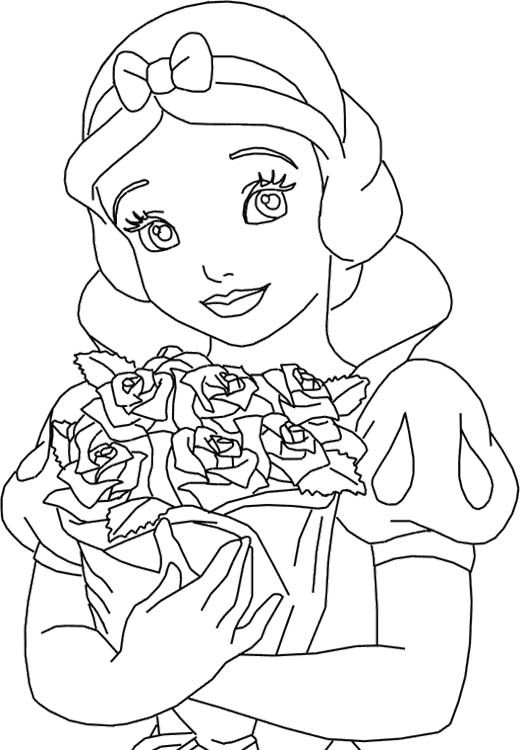 Princess Rose Coloring Pages : Princess snow white and roses coloring pages