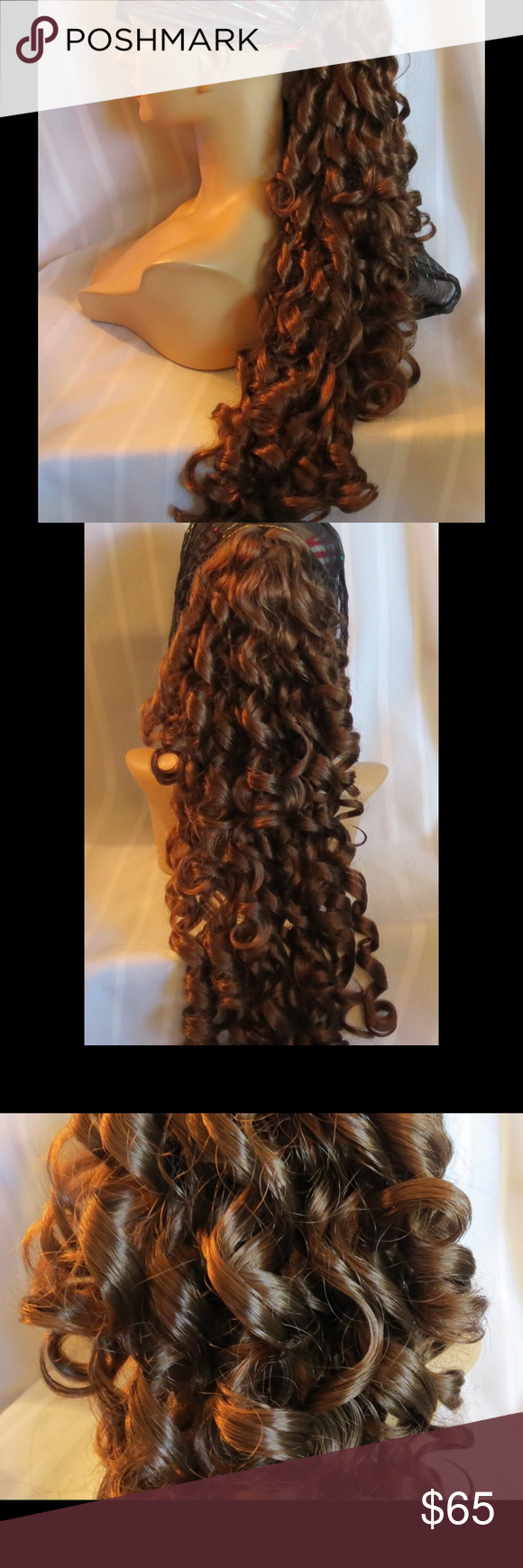 """NEW High Quality XTRA LONG Curly Clip On Pony Tail Color Auburn  34 """" Long  Clip: Banana  Medication made me lose my hair. I stocked up on a ton of wigs that I loved just in case they stopped making them. These are not Halloween cheapo costume wigs they are very thick full high quality wigs,  I paid $50-150 for the ones I am selling! A special note about colors, all manufactures are different, so if you are looking for an exact match or have something in your mind don't buy, please go by the…"""