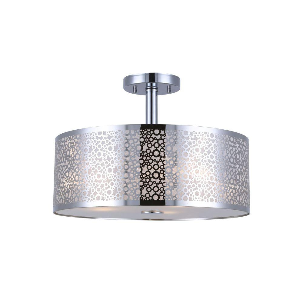 Canarm piera light chrome semiflush mount light with glass