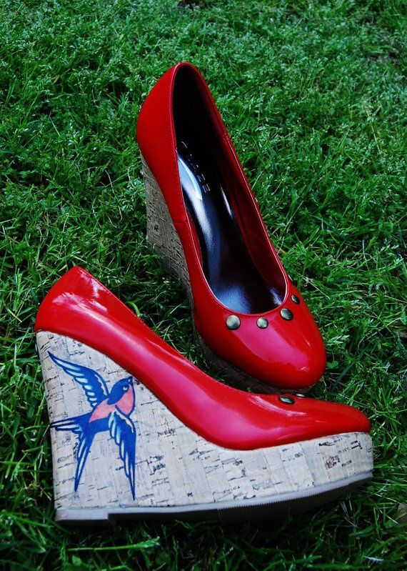 super cute pinup style Sailor Jerry sparrow wedges by mandiewarhol,