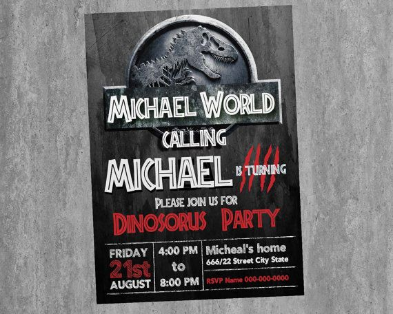 Jurassic world Birthday Invitation card size 5x7 by Room25Days