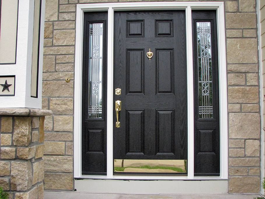 Front Door With Sidelights Repairs Ny: 6 Panel Colonial Entry Doors With Decorative Sidelights
