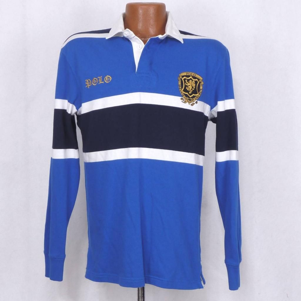 Polo Ralph Lauren Blue White Lion Crest Patch Custom Fit Rugby Shirt Men S Small Polo Rugby Shirt Rugby Shirt Mens Shirts