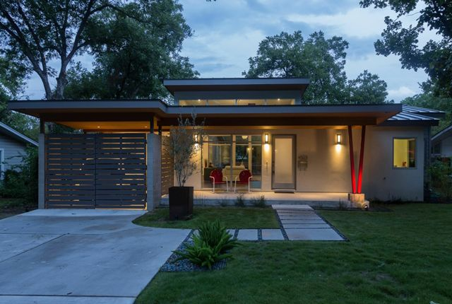 Front View Of Mid Century Home Remodel In Texas Designed