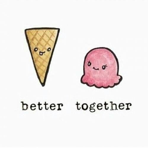 Ice Cream Cute And Together Image Drawing Drawi
