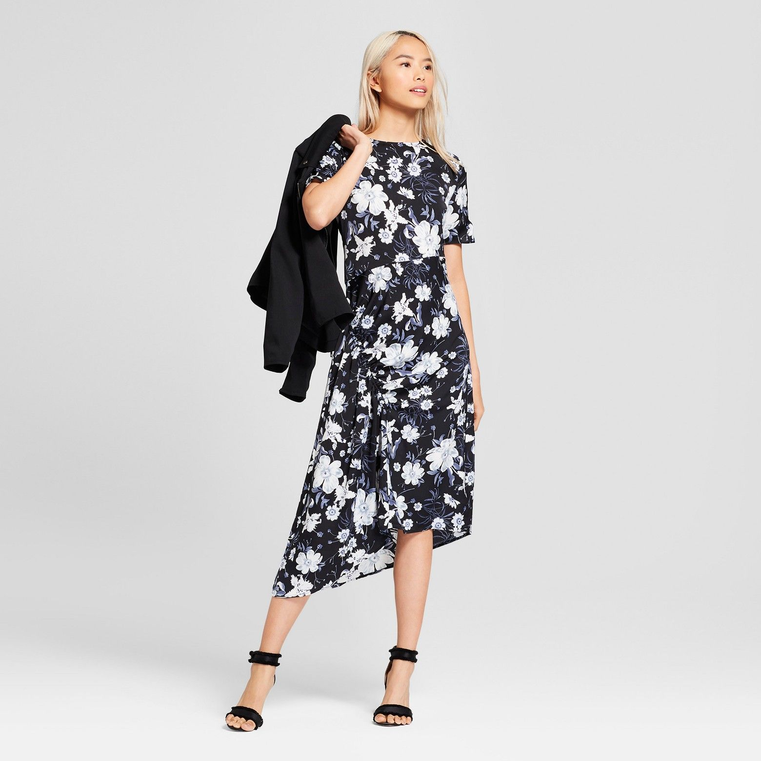Women S Short Sleeve Asymmetric Shirred Midi Dress Who What Wear Target Midi Dress Dresses Who What Wear [ 1560 x 1560 Pixel ]