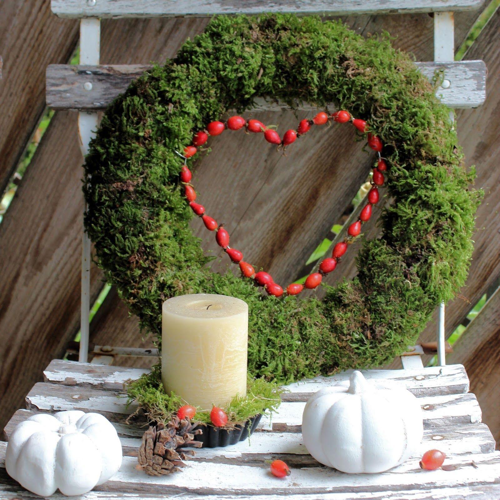 Landidylle: Mooskränze und Herbstdeko im Garten #dekoeingangsbereichaussen