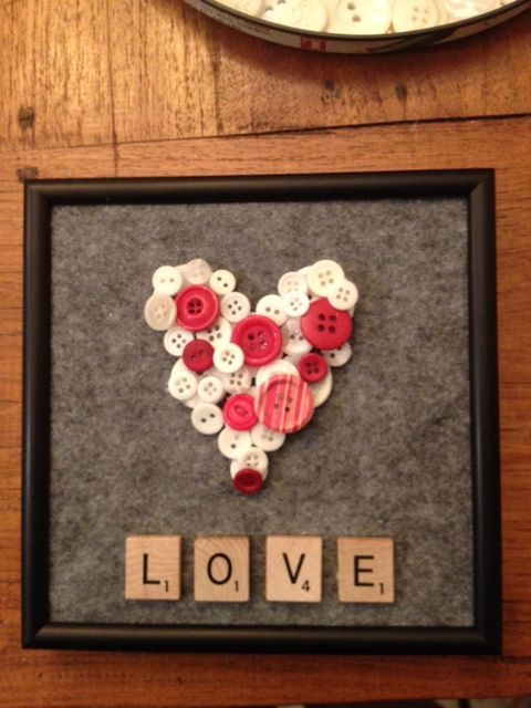 HeartValentines Button craft   Pinteres