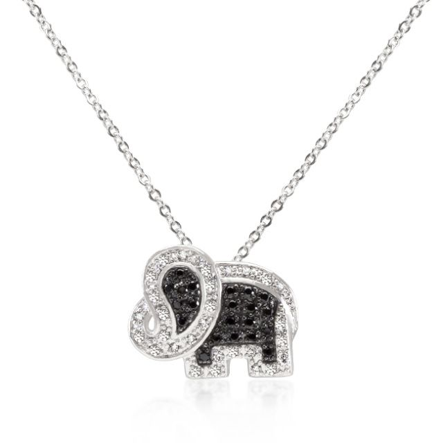 Black silver crystal elephant pendant accessories to wear for white gold rhodium and black rhodium black and white cz elephant pendant with 18 inch chain included in tutone this animal inspired elephant pendant is a aloadofball Choice Image