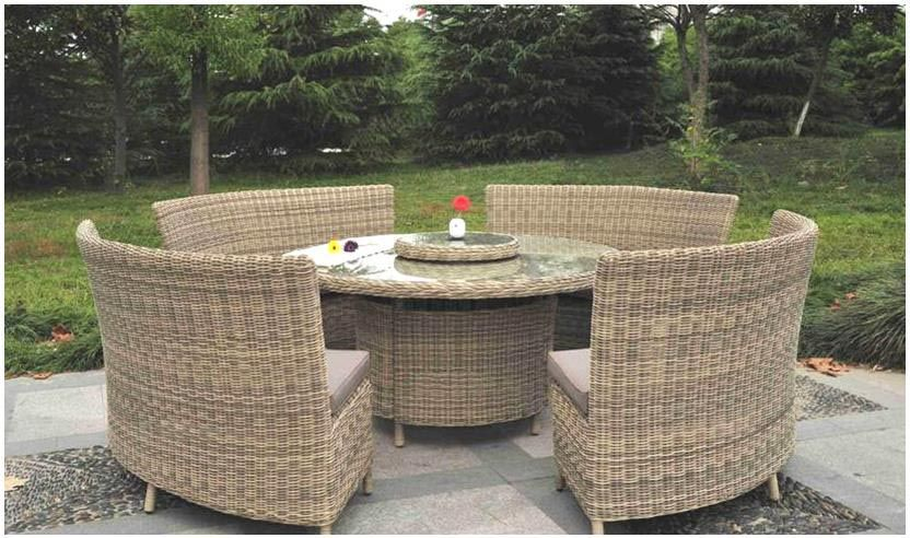 garden furniture wentworth round 8 seater fan bench dining set - Garden Furniture 8 Seater