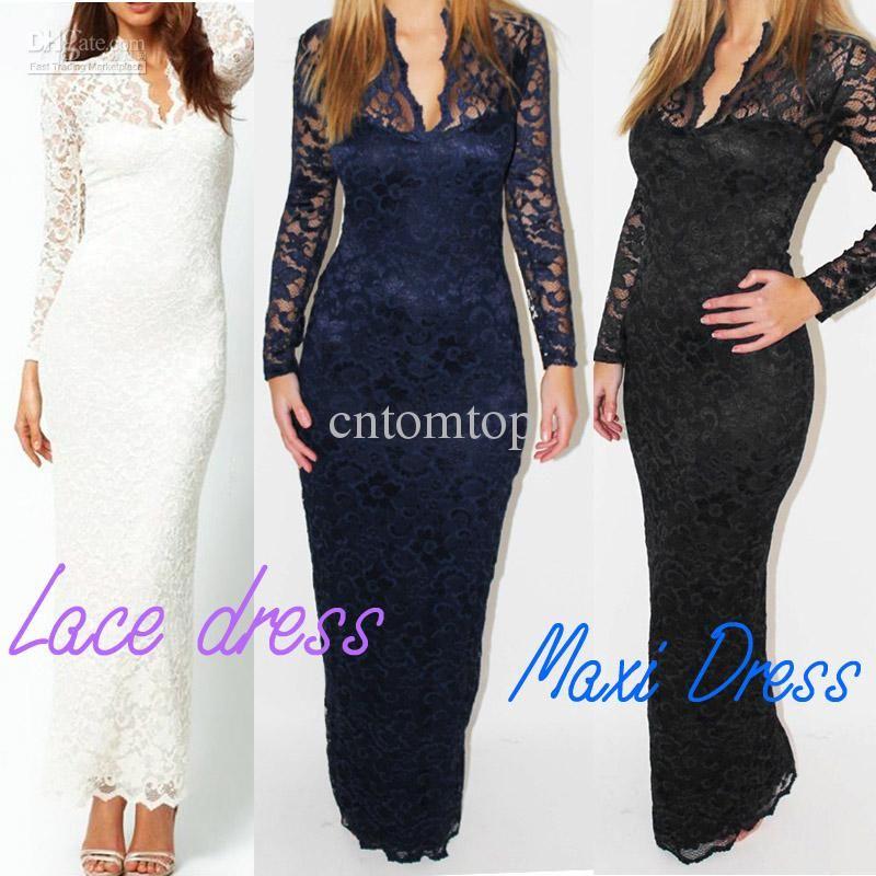 Wholesale Fashion Ladies Sexy V-Neck Slim Scallop Neck Lace Women Maxi Dress Long Sleeve White Black G0123, Free shipping, $14.77-16.98/Piece | DHgate