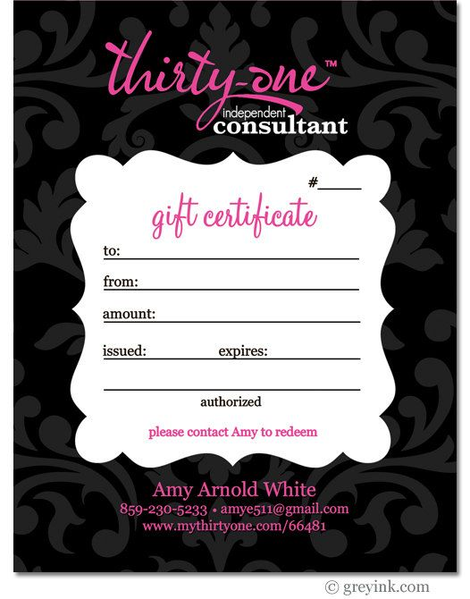 Gift Certificate Thirty One Gifts For Consultants Digital File Thirty One Gifts Thirty One Party Thirty One Consultant