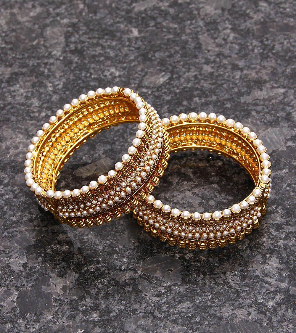 Golden Embellished Bangles Set Of 2 Anjali Jain Silver 128
